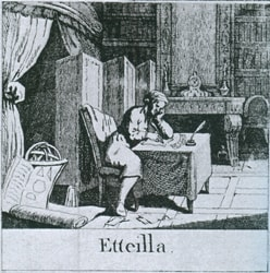 Etteilla (Jean-Baptiste Alliette) at work (courtesy Wikipedia)
