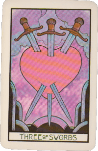 Three of Swords – Pink Aquarian Tarot Deck