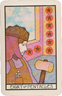 Eight of Pentacles Card Meaning (Fixed Earth) ⋆ Easy Tarot Lessons