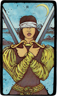 Two of Swords – The Morgan Greer Black Border Tarot Deck