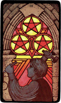 Three of Pentacles – The Morgan Greer Black Border Tarot Deck