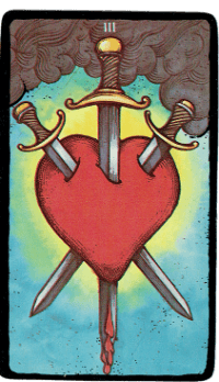 Three of Swords – The Morgan Greer Black Border Tarot Deck
