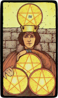 Four of Pentacles – The Morgan Greer Black Border Tarot Deck