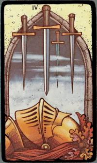 Four of Swords – The Morgan Greer Black Border Tarot Deck