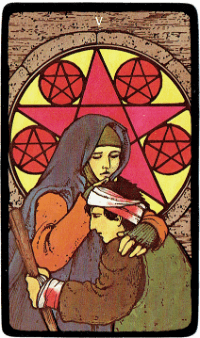 Five of Pentacles – The Morgan Greer Black Border Tarot Deck