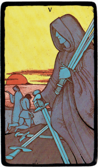Five of Swords – The Morgan Greer Black Border Tarot Deck