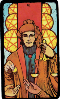 Six of Pentacles – The Morgan Greer Black Border Tarot Deck