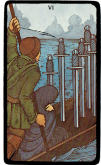 Six of Swords – The Morgan Greer Black Border Tarot Deck