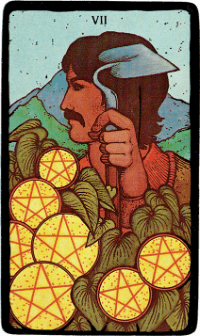 Seven of Pentacles – The Morgan Greer Black Border Tarot Deck