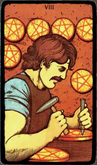 Eight of Pentacles – The Morgan Greer Black Border Tarot Deck