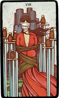 Eight of Swords – The Morgan Greer Black Border Tarot Deck