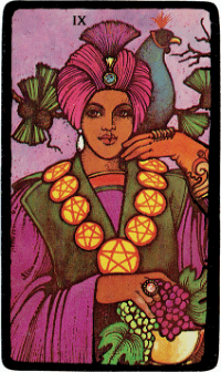 Nine of Pentacles – The Morgan Greer Black Border Tarot Deck