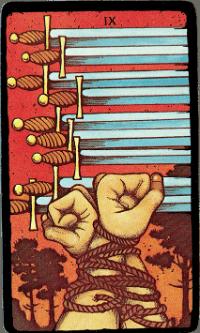 Nine of Swords – The Morgan Greer Black Border Tarot Deck