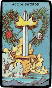 Ace of Swords – The Morgan Greer Black Border Tarot Deck