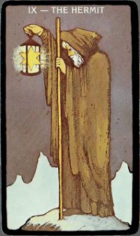 The Hermit Card – The Morgan Greer Black Border Tarot Deck