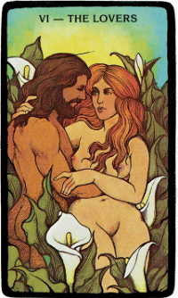 The Lovers Card – The Morgan Greer Black Border Tarot Deck