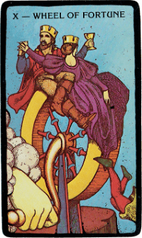Wheel of Fortune Card – The Morgan Greer Black Border Tarot Deck