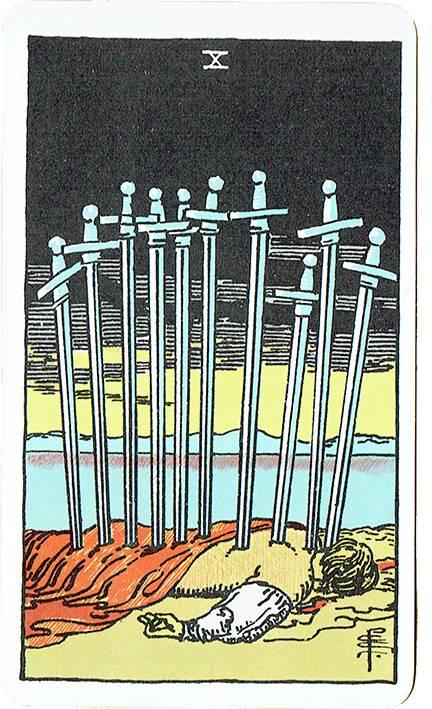 Ten of Swords — Rider Deck Blue Box