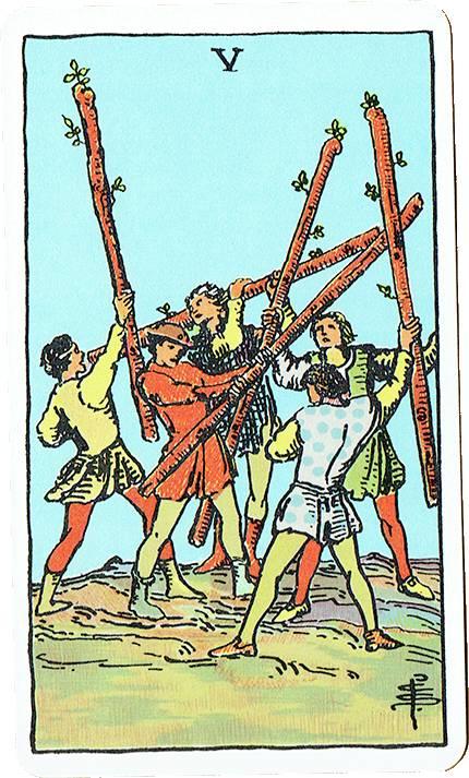 Five of Wands — Rider Deck Blue Box