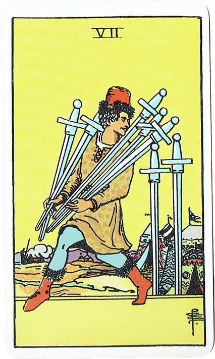 Seven of Swords — Rider Deck Blue Box