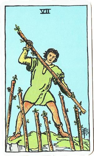 Seven of Wands — Rider Deck Blue Box