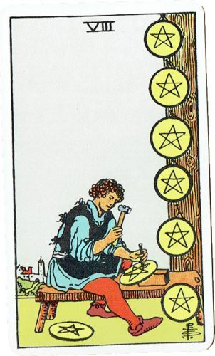 Eight of Pentacles — Rider Deck Blue Box