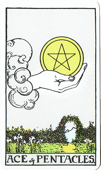 Ace of Pentacles — Rider Deck Blue Box