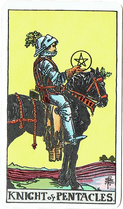 Knight of Pentacles — Rider Deck Blue Box