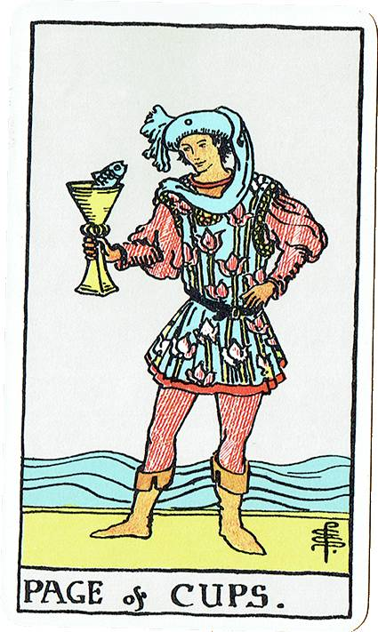 Page of Cups — Rider Deck Blue Box
